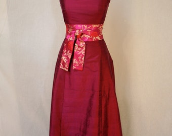 Magenta Long Silk Shantung A-line Dress, Bridesmaid, Custom dress