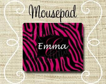 Custom Personalized Mousepad Mouse Pad Zebra Fuchsia & Black or Any Color(s)