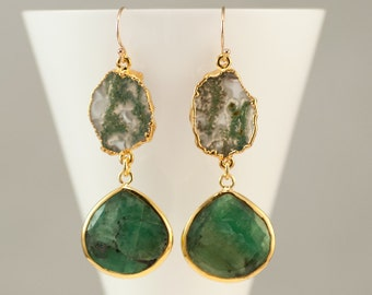Raw Emerald Earrings - Green Moss Quartz earrings - Two Tier Gemstone earrings - Gold Earrings - Long Drop earrings