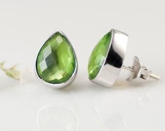 Peridot Studs - August Birthstone Earrings -  Post Earrings - Silver Stud Gemstone Earrings - Tear drop Studs