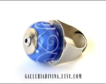Lampwork glass ring - Light blue with swirls - Statement ring - Cocktail ring - Big ring - White swirls