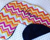 Boppy Pillow Cover- Nursing Pillow Cover- Summer Girl Chevron Print and Navy Minky Boppy Cover