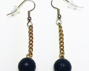 Brass chain and lava rock earrings