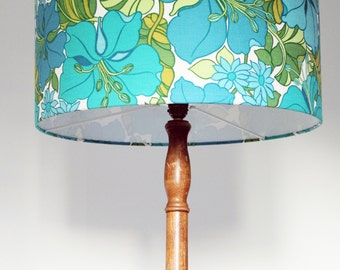 Vintage Retro Lampshade - 1960s Fabric - Medium - Handmade - Turquoise exotic flowers
