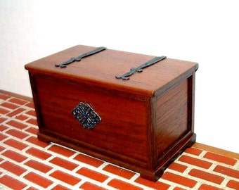 Medieval Chest with Strap Hinges, dollhouse miniature 1/12 scale, Hand Made in the USA