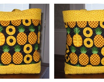 Large Hawaiian Pineapple Tote with Polka Dot Trim