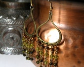 Chandelier Earrings Olive and Citrine Czech Glass In Arabesque Hoops Antique Bronze