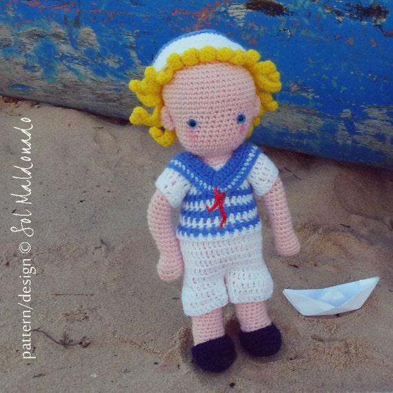 Crochet Toys For Boys : Amigurumi crochet pattern sailor boy toy pdf instant by bysol