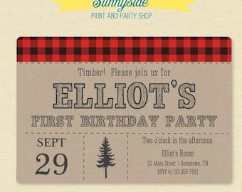 Lumberjack Birthday Party Invite - Logger Plaid Printable Invitation
