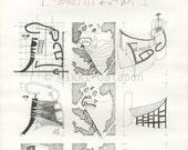 "The chapel of Notre Dame du Haut Study: Archival print of original architectural pen drawing 11""x16"""