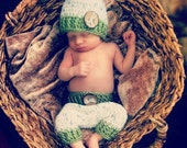 Newborn Shorts with Matching Hat, Baby Boy Outfit, Olive Green, Newborn Photo Prop