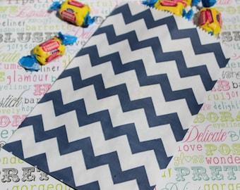 50 Navy Blue Chevron Candy Bags, Navy Blue Wedding Favor Bags, Navy Popcorn Bags, Navy Blue Party Bags, Favor Bags, Navy Blue Candy Bags