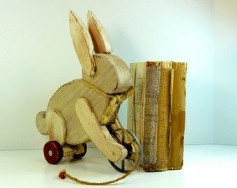 Handmade Wooden White Rabbit on Wheels Toy Display Home Decor Woodwork Animals Pet Lovers Repurposed