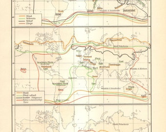 1906 Vintage Zoogeographical Map, Domesticated Animals