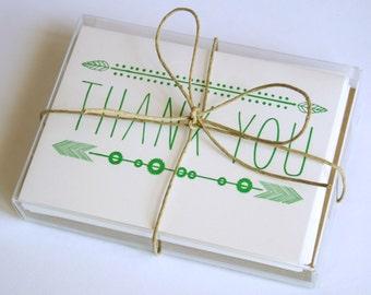 Leaf Thank You / Letterpress Printed Cards / Set of Six