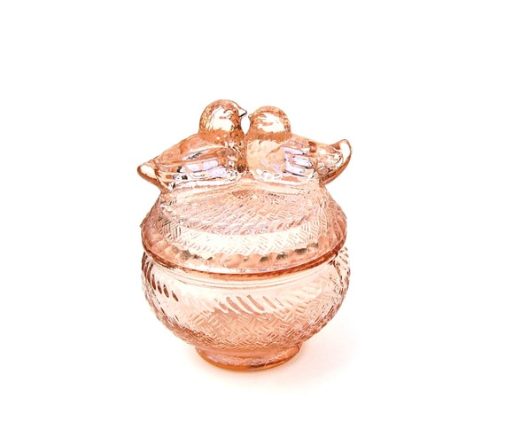 Antique Pink Depression Glass Love Birds By Oceansidecastle