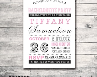Bachelorette Party Invitation- Vintage Playbill- Print Order Deposit or Digital File Setup for DIY Printing