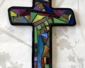 Mosaic Cross By Jeri Stout Mosaics Stained glass inlay, black grout.