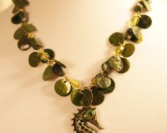 Seahorse and seaweed shell necklace