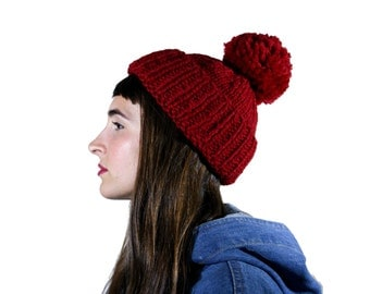 ruby red pompom toque, chunky knits, oxblood red hat, chunky knit beanie, super thick knitted hat