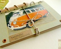 Orange VW Camper Van Journal with Mini Pencil- Volkswagen Bus Transporter Kombi - Recycled Kraft Paper Notebook - Handmade in Ireland
