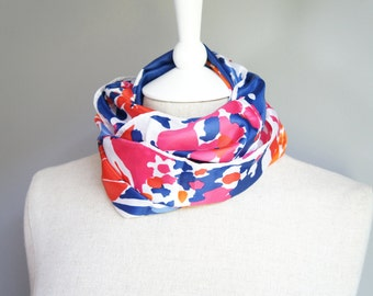 Colorful Floral Scarf - 100% Polyester Scarf - Blue Pink And Orange Scarf - Water Repellent Scarf - Floral Scarf - Floral Scarf - Neck Scarf