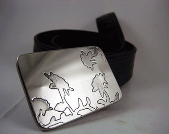 Floral Belt Buckle - Etched Stainless Steel - Handmade
