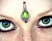 Dryad Bindi, fairy, fantasy jewelry, tribal fusion, wicca, pagan, elven, bellydance costume, gypsy, Halloween, goddess, facial jewelry, fae