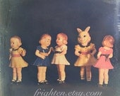 5 x 5 Inch Weird Doll Photography Print, Vintage Plastic Doll Collection Dance Party, Colorful Photo, Small Wall Art