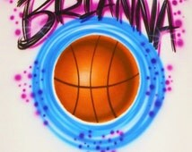 Airbrush T Shirt With Basketball And Name, Airbrush Basketball, Basketball Shirt, Basketball Shirt With Name, Airbrush, Basketball, T Shirt