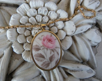 Porcelain Botanical Rose Print Gold Toned Oval Pendant with Chain REDUCED