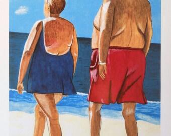 Sunburned Beach Walkers Folk Art Print Quirky Fun Man Outsider Art Chabby Chic Decor Sun Surf Sand Beach Vacation Florida Keys