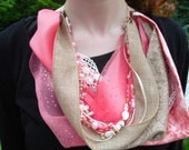Scarf necklace, multi strand necklace, jewelry scarf, summer beach, coral, cream, sand, mixed media, multi strand scarf, collage, romantic