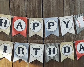 Personalized Happy Birthday Banner -Vintage Baseball -Birthday Banner -Photo Prop -Sports Banner -Play Ball