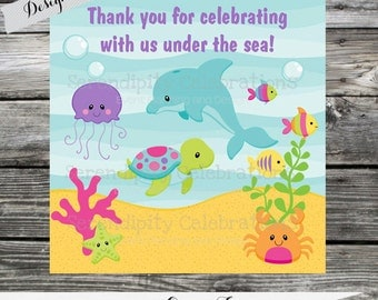 Set of 12 Personalized Favor Tags -Ocean Friends for Girl -Thank You Tag -Gift Tag -Baby Shower -Birthday-Sticker-Under the Sea -Dolphin