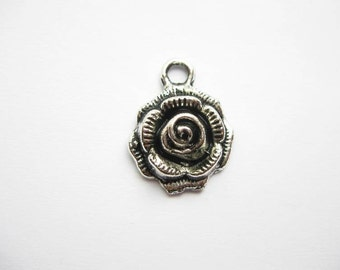 6 Rose Flower Charms in Silver Tone - C476