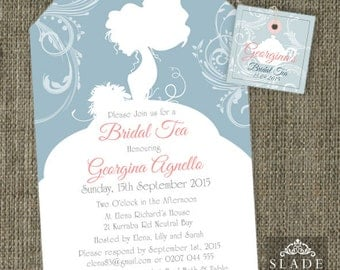 Bride Silhouette Shower Tea invitations. Bridal Shower High Tea traditional tea bag invitation printable.