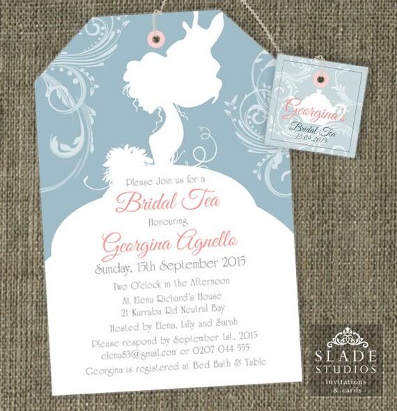Bride Silhouette Shower Tea invitations. Bridal Shower High