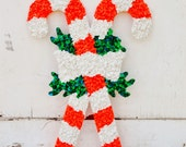 Candy Cane Melted Plastic Popcorn Oatmeal Vintage Fused Plastic Christmas Wall Hanging Decoration Red White 1970's