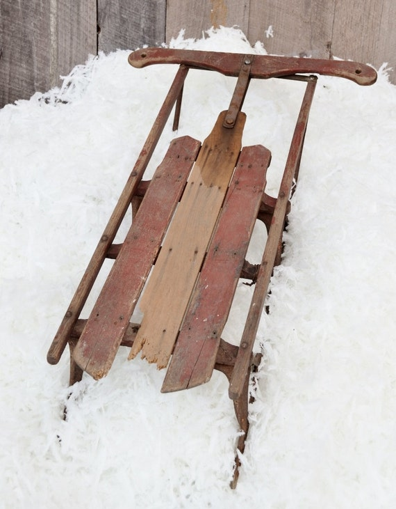 Vintage Snow Sled Winter Wooden Runner Sled Barn Red Christmas Decor Display Small Child's Rustic Primitive Weathered