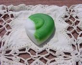 Key Lime Cream Nautilus Vintage NOS Czech Glass Brooch