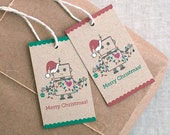 Christmas Gift Tags - Unique Santa Robot Set of 10 or 20 - Brown Recycled Holiday Tags