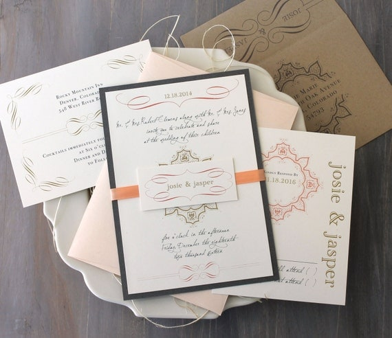 "Peach Wedding Invitations, Peach, Ivory, Gray, Taupe, Elegant Gold Wedding Invites - ""Peaches & Cream"" Sample"