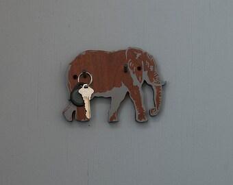 roaming Elephant Hook, Reclaimed Wood, Key Hook, Cute Hook