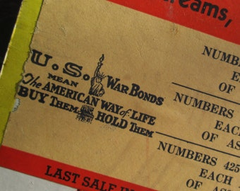 WWII War Bonds Trade Stimulator Punch Board with Liberator Bomber.   Y-264