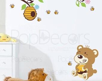 Kids Printed Wall Decal Children Animal Wall Sticker - Bear Loves Honey - Bees Vinyl Decal Beehive Wall Sticker Kids Wall Arts prt0017