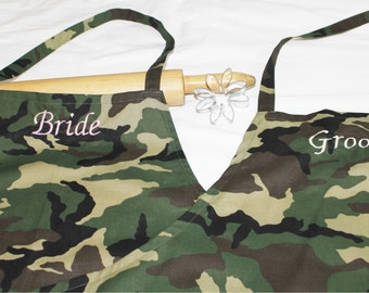 Bride & Groom Apron Set - Camouflage - made to order