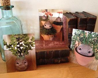 Set of 3 original Postcards of OOAK Seedlings sculptures