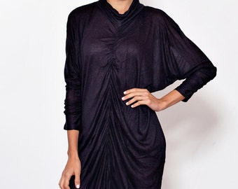Black dress with sleeves.black gowns.chiffon dress. coel neck.