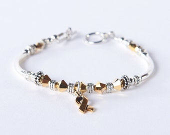 Gold Ribbon Awareness Charm Bracelet: Childhood Cancer, COPD, Neuroblastoma, Hearing Disorders, Meniere's Disease // survivor, hope, support